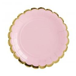 Bordjes van licht roze met goud metallic karton