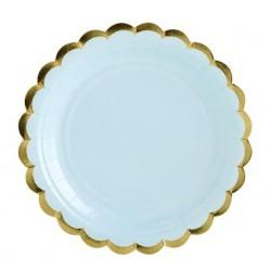 Bordjes van licht blauw met goud metallic karton