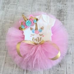 Driedelig 1e verjaardag setje Unicorn met roze tutu