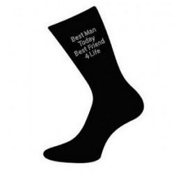Zwarte sokken met de tekst Best Man Today Friend 4Life