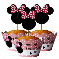 Pak met 12 cupcake bakjes en 12 prikkers Minnnie Mouse Happy Birthday