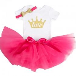 Driedelig tweede verjaardag setje voor een meisje in de kleuren wit, goud en donker roze