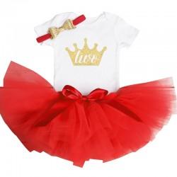 Driedelig tweede verjaardag setje voor een meisje in de kleuren wit, goud en rood