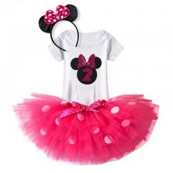 Driedelig eerste of tweede verjaardag setje Minnie Mouse rood of roze
