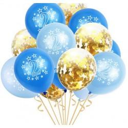 Prachtig ballon decoratie pakket blauwe en met gouden confetti gevulde doorzichtige ballonnen
