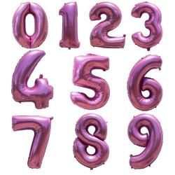 Folie ballonnen cijfer roze van 0 t/m 9