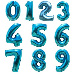 Folie ballonnen cijfer blauw van 0 t/m 9