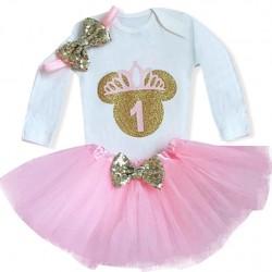 Driedelig eerste verjaardag setje voor een meisje Minnie Mouse gold and pink