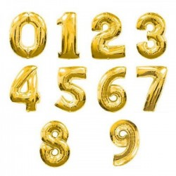 Cijfer folie ballon L of XL van 0 t/m 9 goud