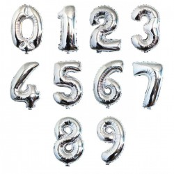 Cijfer folie ballon L of XL van 0 t/m 9 zilver