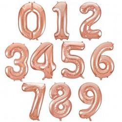 Cijfer folie ballon L of XL van 0 t/m 9 rosé goud