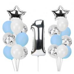 Ballonmix voor de eerste verjaardag van een jongen in de kleuren wit, blauw en zilver