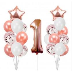 Ballonmix voor de eerste verjaardag van een meisje in de kleuren wit en rosé goud