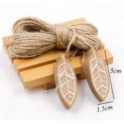Aantrekkelijk geprijsd pak met 50 kartonnen kaartjes Feather compleet met 10 meter touw