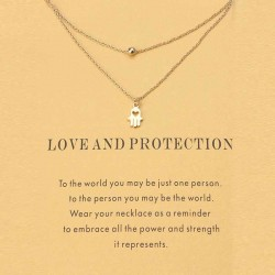 Fashion kaart met 2 dubbele goudkleurige kettinkjes Love and Protection