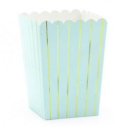 Popcorn bakjes van licht blauw karton met goud metallic streepjes