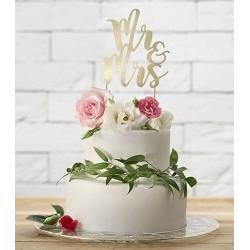Aantrekkelijk geprijsde bruidstaart topping Mr & Mrs van glanzend goud karton