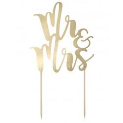 Aantrekkelijk geprijsde bruidstaart topping Mr & Mrs goud met een hoogte van 25,5 cm