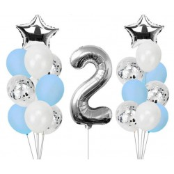 Ballonmix voor de tweede verjaardag van een jongen in de kleuren wit, blauw en zilver