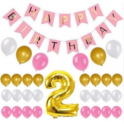 Happy 2st Birthday 28-delige decoratie set roze, goud en wit