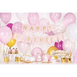 Schitterende Happy Birthday vlaggenlijn zacht roze met gouden letters