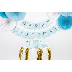 Schitterende Happy Birthday vlaggenlijn licht blauw met gouden letters