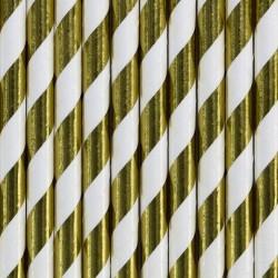 Pak met 10 metallic goud met wit gestreepte rietjes