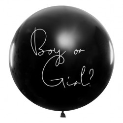 Big Balloon met in sierlijke letters Boy or Girl met roze of blauwe confetti er in