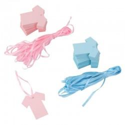 Baby gift tags 100 stuks in de vorm van blauwe of roze babyshirtje compleet met touw