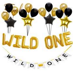 Decoratie set Wild One zwart, wit en goud
