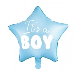 Blauwe stervormige folie ballon It's a Boy