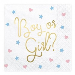 Servetten Boy or Girl pastel and gold