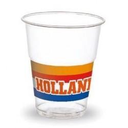 Pak met 10 plastic doorzichtige bekers met opdruk Holland