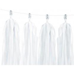 DIY tassel slinger set met 12 witte tassels en 2 meter wit touw