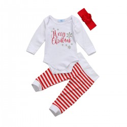Driedelig wit met rood setje voor de baby Merry Christmas