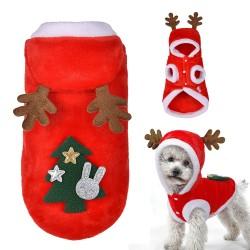 Grappige kerst outfit voor de hond met rendier gewei op de capuchon
