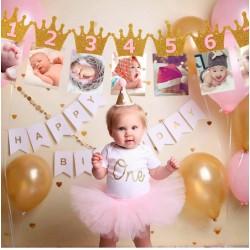 Eerste verjaardag Milestone foto banner goud met roze