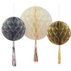 Honeycomb bollen set met aluminium tassels Metallic and Cream