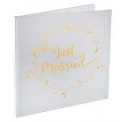 Just Married gastenboek wit met goud