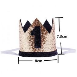 Aandoenlijk glitter hoedje goud met zwart voor de eerste verjaardag van een jongen