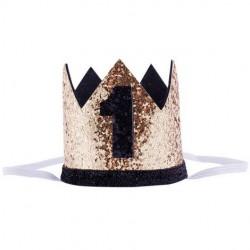 Aandoenlijk glitter hoedje goud of zilver met zwart voor de eerste verjaardag van een jongen