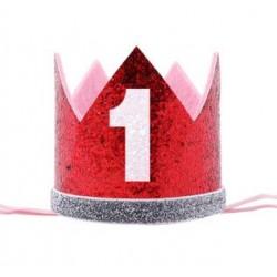 Aandoenlijk rood met zilver glitter hoedje voor de eerste verjaardag van een jongen