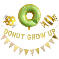 Decoratie pakket Donut Grow Up in de kleuren groen, goud, geel en wit