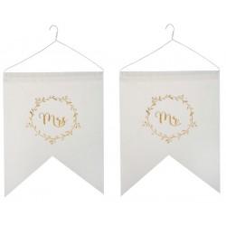 Set met 2 hangers Just Married wit met in goud de tekst Mr en Mrs