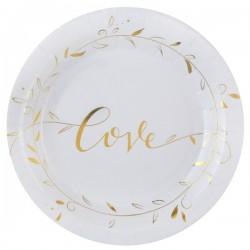 Pak met 10 bordjes uit de serie Just Married wit met goud