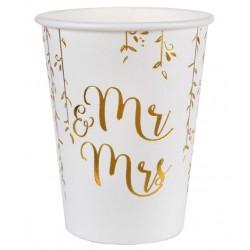 Pak met 10 bekertjes uit de serie Just Married wit met goud