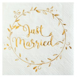 Pak met 20 servetten uit de serie Just Married wit met goud