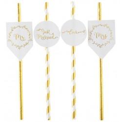Pak met 8 rietjes uit de serie Just Married wit met goud