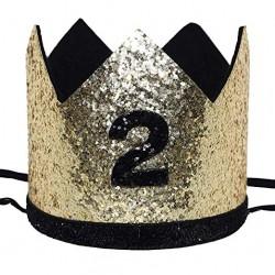 Aandoenlijk glitter hoedje goud of zilver met zwart voor de tweede verjaardag van een jongen