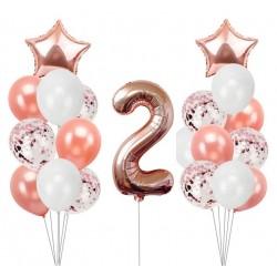 Ballonmix voor de tweede verjaardag van een meisje in de kleuren wit en rosé goud